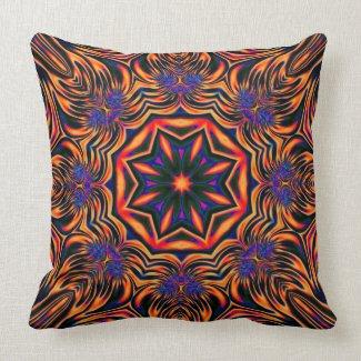 Psychedelic Kaleidoscope1 (orange) abstract Pillow mojo_throwpillow