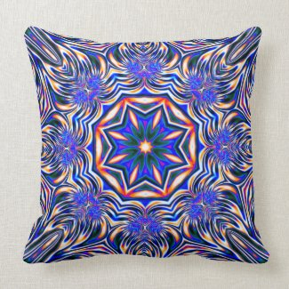 Psychedelic Kaleidoscope 1 (blue) abstract Pillows mojo_throwpillow