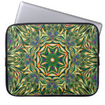 Psychedelic Kaleidoscope 1 green abstract pattern Computer Sleeve