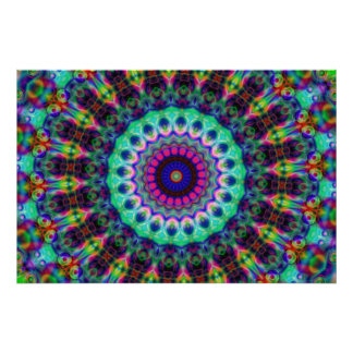 Psychedelic Kaleidoscope Konst Affisch