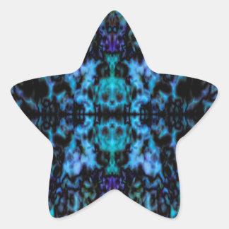 Psychedelic kaleidoscope skulls pattern star sticker