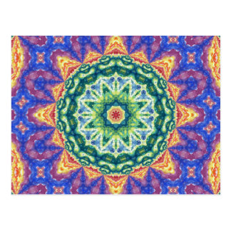 Psychedelic Kaleidoscope Watercolor Art Post Card