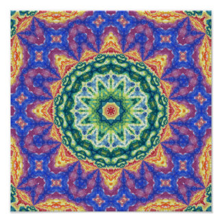 Psychedelic Kaleidoscope Watercolor Art Posters