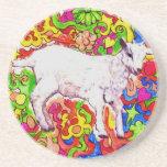 "Psychedelic kid sandstone coaster<br><div class=""desc"">A kid goat is framed by swirling colors.</div>"
