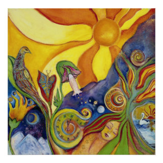 Psychedelic kind - 60s - hippie Woman - Sun Birds  Posters