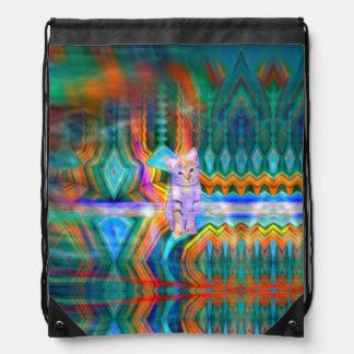 Psychedelic Kitten Matrix Backpack Bag