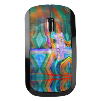 Psychedelic Kitten Matrix Wireless Mouse