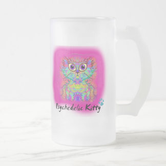 Psychedelic Kitty Frosted Glass Beer Mug