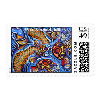 Psychedelic Koi  鯉 Fish, by artist Julie Ann Stri Postage Stamps