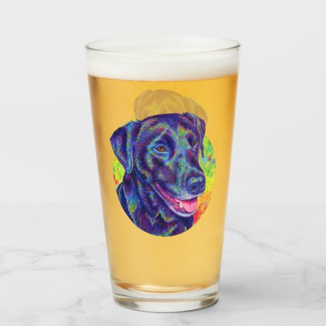 Psychedelic Labrador Retriever Drinking Glass Cup