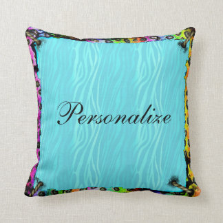 Psychedelic Leopard Print & Blue Zebra Pillow