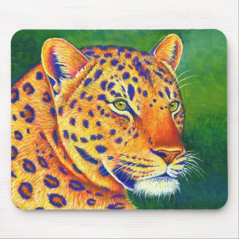 Psychedelic Leopard Wild Feline Mouse pad