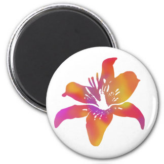 Psychedelic Lily 2 Inch Round Magnet