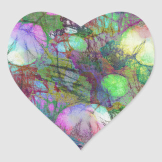 Psychedelic Lily Pad Light Show Heart Sticker