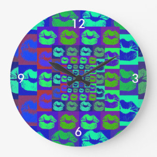 Psychedelic Lips Large Clock