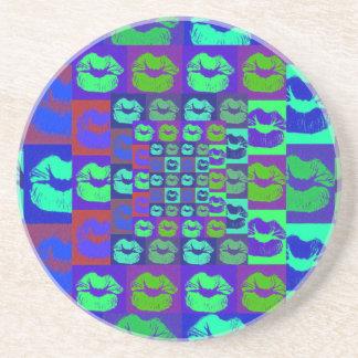 Psychedelic Lips Sandstone Coaster