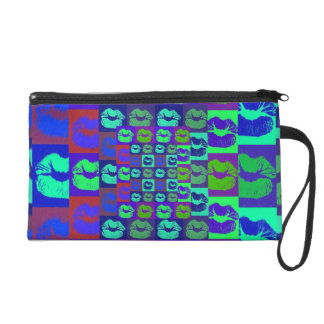 Psychedelic Lips Wristlet Purse