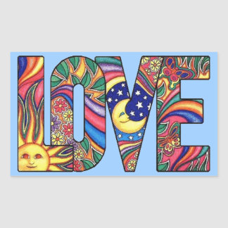 Psychedelic Love Rectangle Stickers
