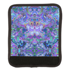 Psychedelic Marbled Tie-dye Purple Teal Pattern Luggage Handle Wrap