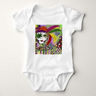 Psychedelic Mardi Gras Feather Mask Baby Bodysuit