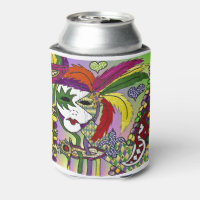 Psychedelic Mardi Gras Feather Mask Can Cooler