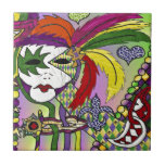 """Psychedelic Mardi Gras Feather Mask Ceramic Tile<br><div class=""""desc"""">You are viewing The Lee Hiller Designs Collection of Home and Office Decor,  Apparel,  Gifts and Collectibles. The Designs include Lee Hiller Photography and Mixed Media Digital Art Collection. You can view her Nature photography at http://HikeOurPlanet.com/ and follow her hiking blog within Hot Springs National Park.</div>"""