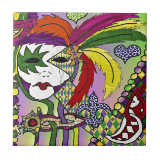 Psychedelic Mardi Gras Feather Mask Ceramic Tile