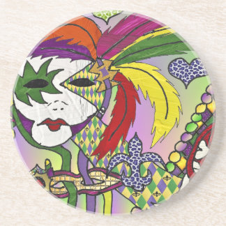 Psychedelic Mardi Gras Feather Mask Coaster