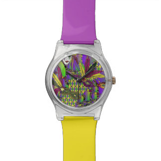 Psychedelic Mardi Gras Feather Mask Designer Watch