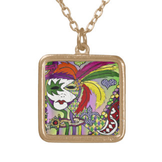 Psychedelic Mardi Gras Feather Mask Gold Plated Necklace