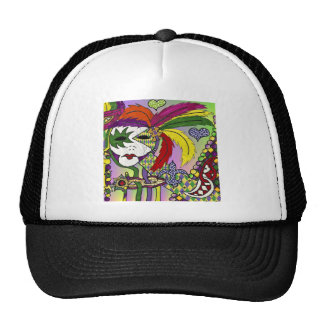 Psychedelic Mardi Gras Feather Mask Trucker Hats