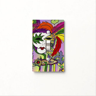 Psychedelic Mardi Gras Feather Mask Light Switch Cover
