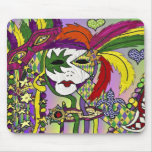 Psychedelic Mardi Gras Feather Mask Mouse Pad