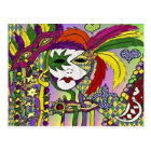 Psychedelic Mardi Gras Feather Mask Postcard
