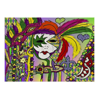 Psychedelic Mardi Gras Feather Mask Poster