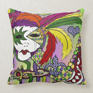 Psychedelic Mardi Gras Feather Mask Throw Pillow