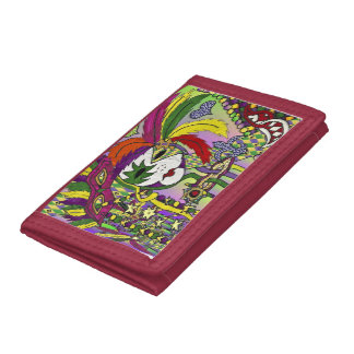Psychedelic Mardi Gras Feather Mask Trifold Wallets