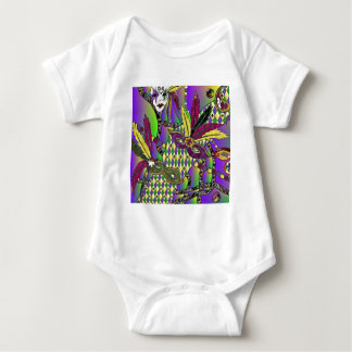 Psychedelic Mardi Gras Feather Masks Baby Bodysuit