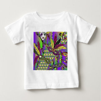 Psychedelic Mardi Gras Feather Masks Baby T-Shirt