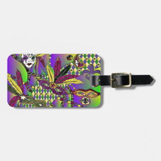 Psychedelic Mardi Gras Feather Masks Bag Tag