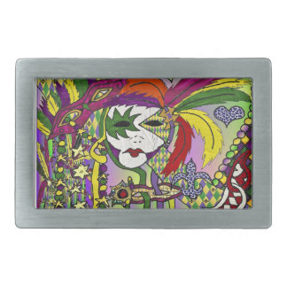 Psychedelic Mardi Gras Feather Masks Belt Buckle