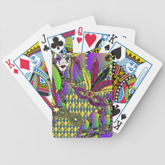 Psychedelic Mardi Gras Feather Masks Bicycle Playing Cards