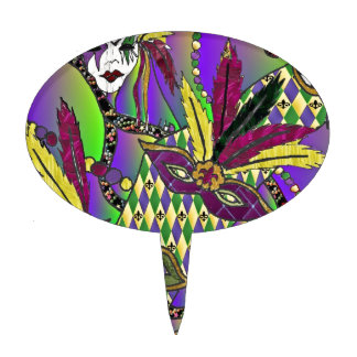 Psychedelic Mardi Gras Feather Masks Cake Topper