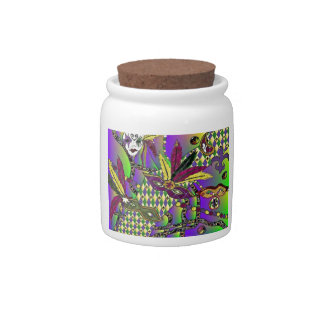 Psychedelic Mardi Gras Feather Masks Candy Jar