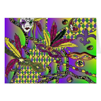 Psychedelic Mardi Gras Feather Masks Card