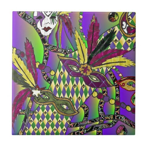 Psychedelic Mardi Gras Feather Masks Ceramic Tile Zazzle
