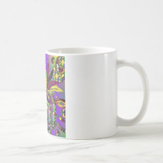 Psychedelic Mardi Gras Feather Masks Classic White Coffee Mug