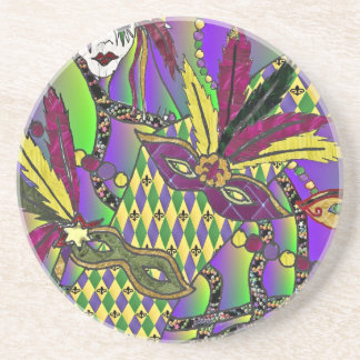 Psychedelic Mardi Gras Feather Masks Coasters