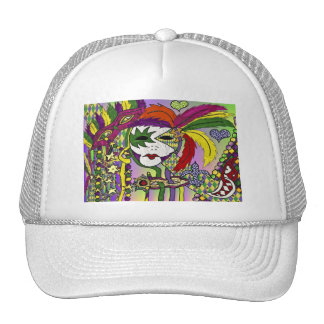 Psychedelic Mardi Gras Feather Masks Gifts Apparel Mesh Hat