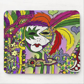 Psychedelic Mardi Gras Feather Masks Gifts Apparel Mouse Pads